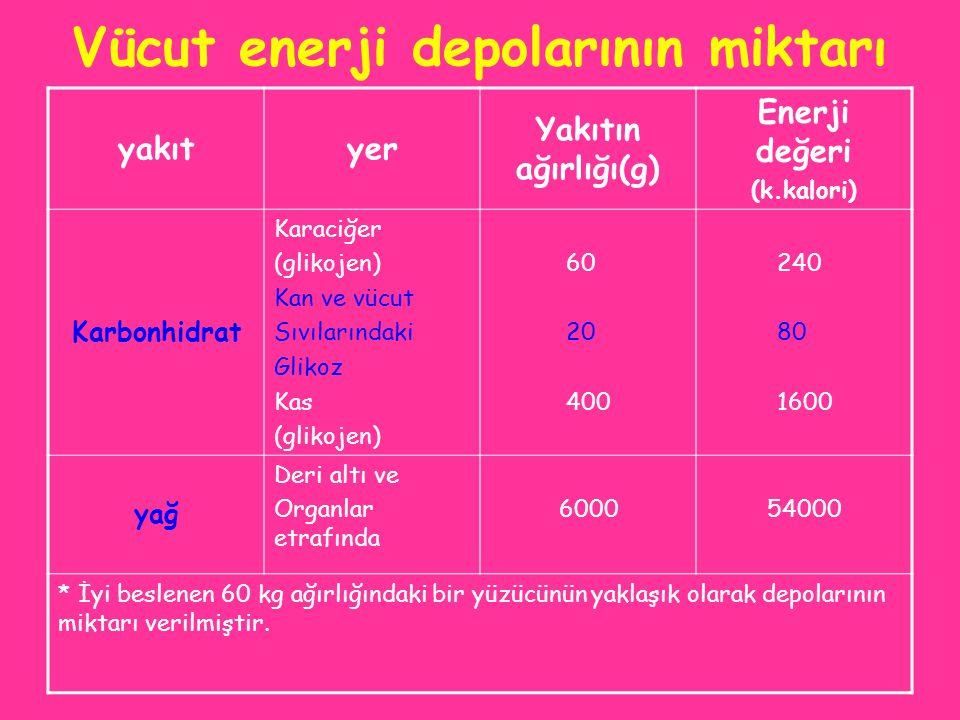 Vücut enerji depolarının miktarı yakıtyer Yakıtın ağırlığı(g) Enerji değeri (k.kalori) Karbonhidrat Karaciğer (glikojen) Kan ve vücut Sıvılarındaki Gl