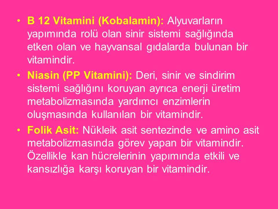 B 12 Vitamini (Kobalamin): Alyuvarların yapımında rolü olan sinir sistemi sağlığında etken olan ve hayvansal gıdalarda bulunan bir vitamindir. Niasin