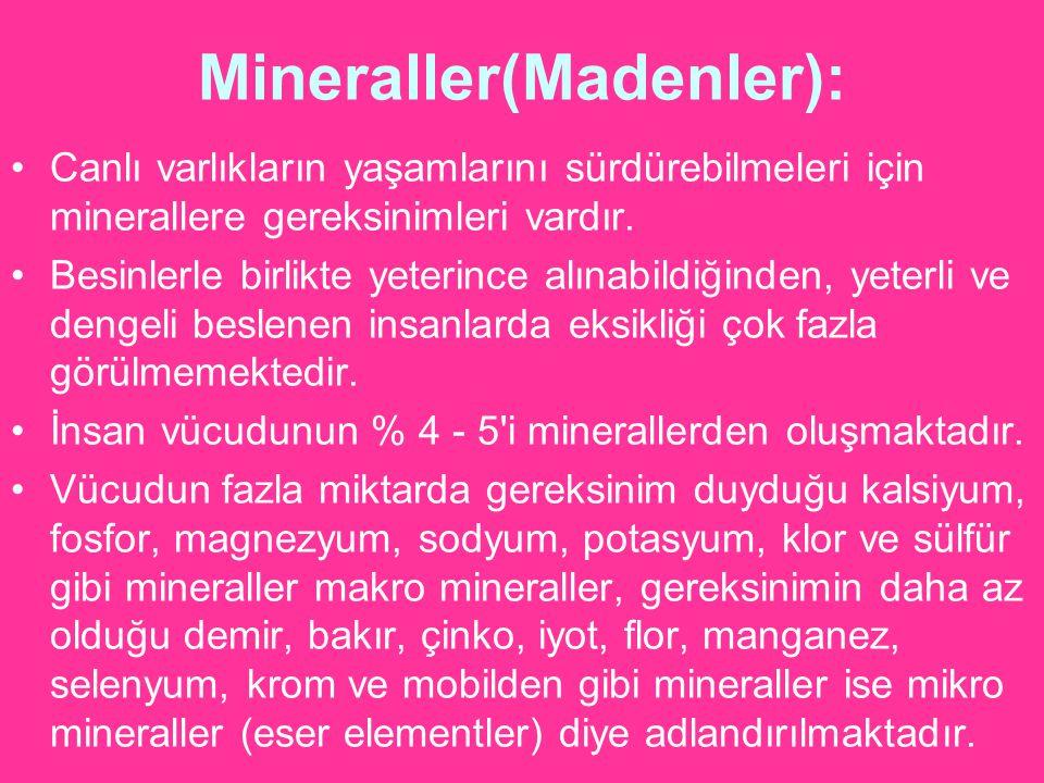 Mineraller(Madenler): Canlı varlıkların yaşamlarını sürdürebilmeleri için minerallere gereksinimleri vardır. Besinlerle birlikte yeterince alınabildiğ