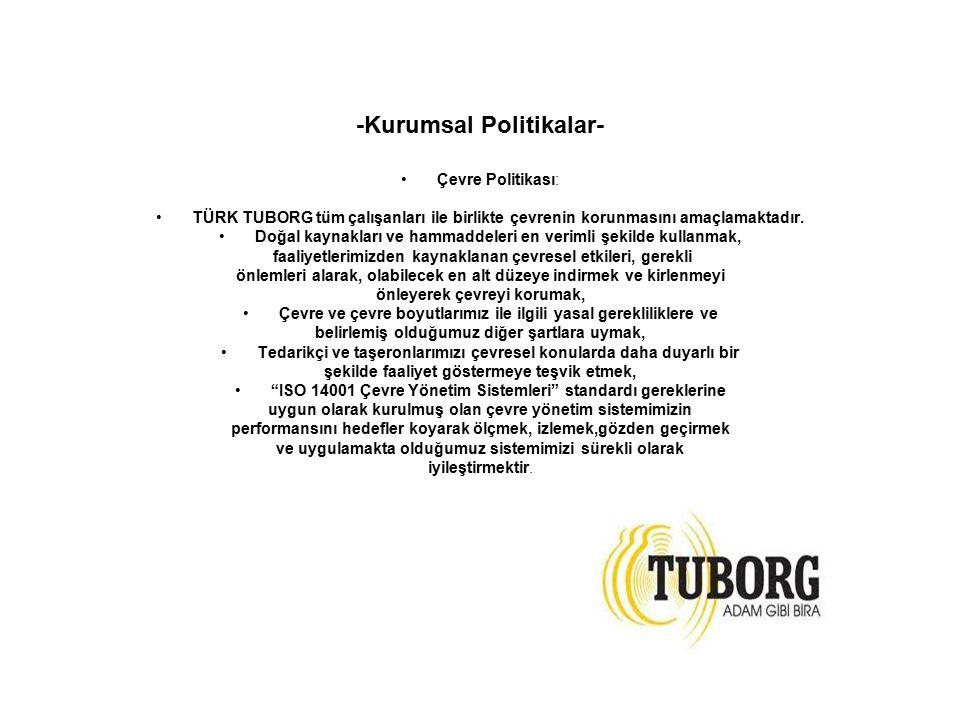 -Kurumsal Politikalar- Çevre Politikası: TÜRK TUBORG tüm çalışanları ile birlikte çevrenin korunmasını amaçlamaktadır. Doğal kaynakları ve hammaddeler