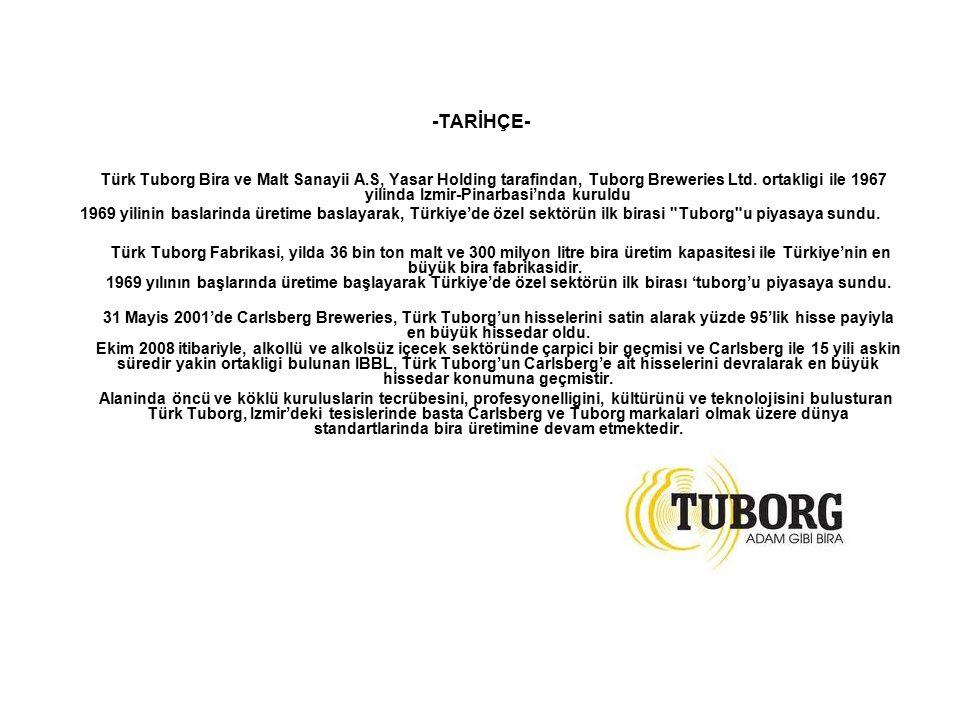 -TARİHÇE- Türk Tuborg Bira ve Malt Sanayii A.S, Yasar Holding tarafindan, Tuborg Breweries Ltd. ortakligi ile 1967 yilinda Izmir-Pinarbasi'nda kuruldu