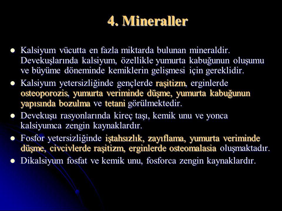 4. Mineraller Kalsiyum vücutta en fazla miktarda bulunan mineraldir. Devekuşlarında kalsiyum, özellikle yumurta kabuğunun oluşumu ve büyüme döneminde