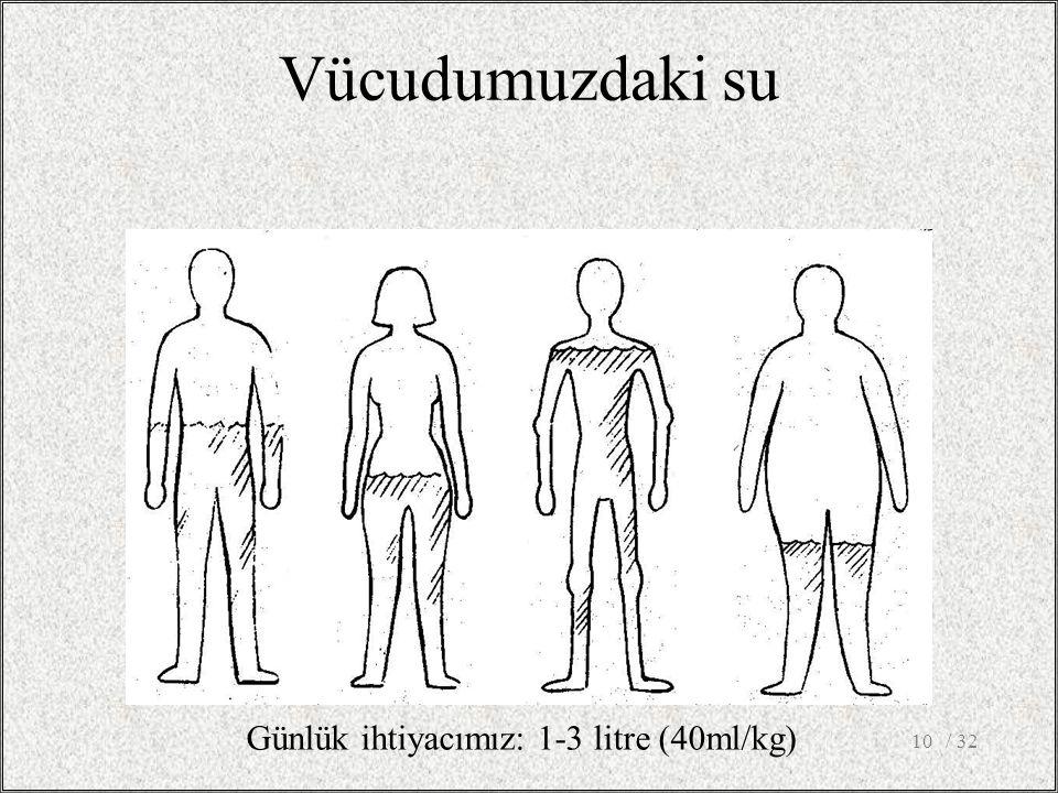 / 3210 Vücudumuzdaki su Günlük ihtiyacımız: 1-3 litre (40ml/kg)