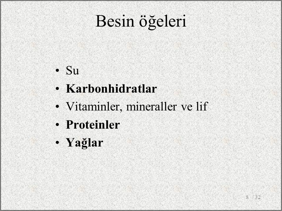 / 328 Besin öğeleri Su Karbonhidratlar Vitaminler, mineraller ve lif Proteinler Yağlar