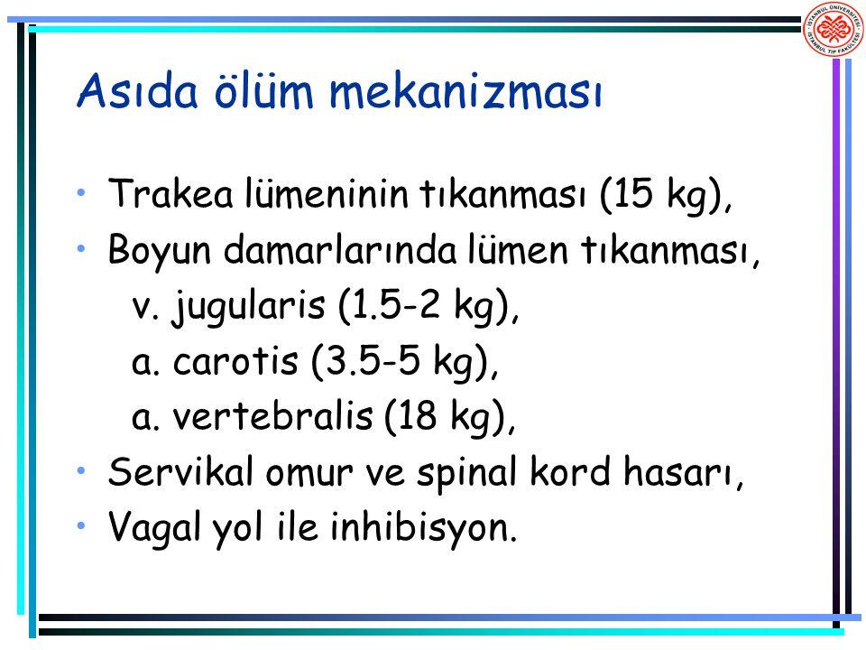 Asıda ölüm mekanizması Trakea lümeninin tıkanması (15 kg), Boyun damarlarında lümen tıkanması, v. jugularis (1.5-2 kg), a. carotis (3.5-5 kg), a. vert
