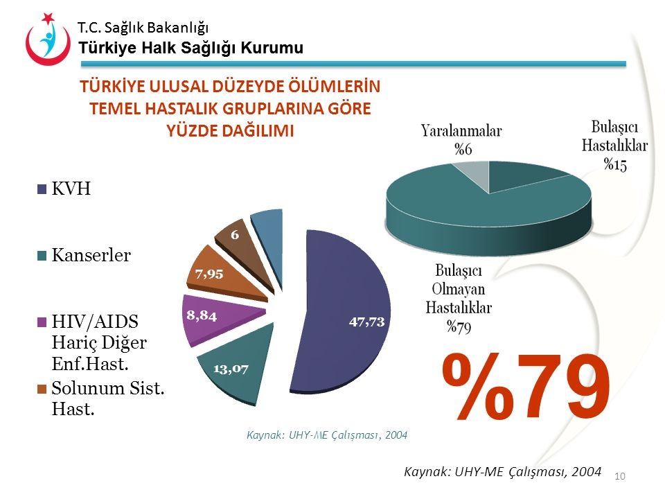 T.C. Sağlık Bakanlığı Türkiye Halk Sağlığı Kurumu Koroner kalp hastalığı riskleri ~10% Diğer etkenler İnaktivite Obezite Diyabet Yoksulluk Stres Homos