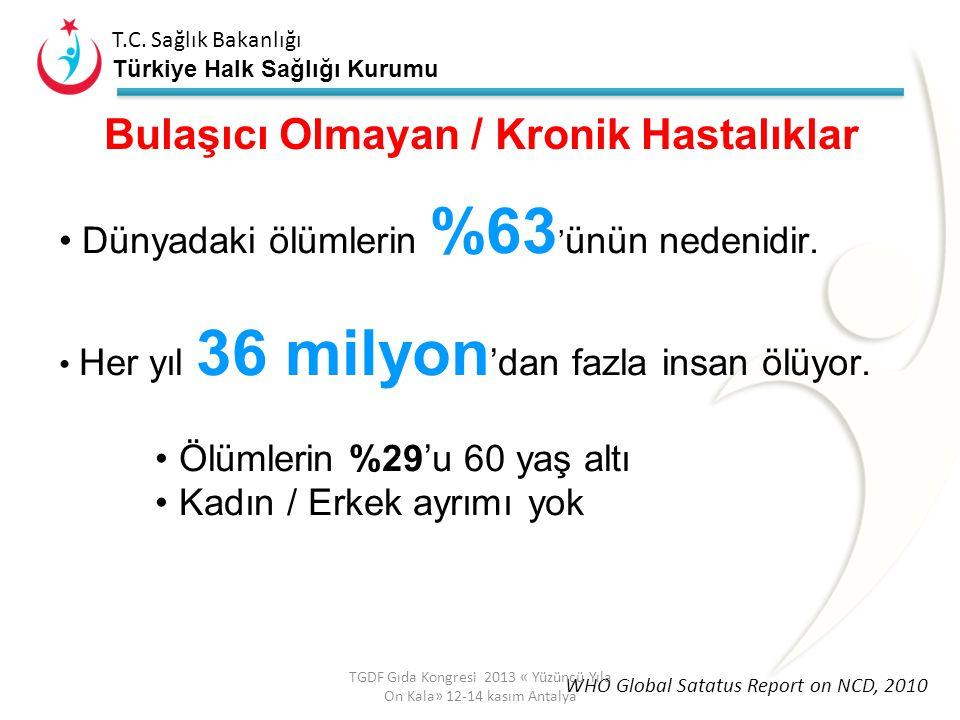 T.C. Sağlık Bakanlığı Türkiye Halk Sağlığı Kurumu Kaynak: WHO World Health Statistics 2013 Türkiye ile aynı gelir grubunda olan ülkelerde beklenen yaş