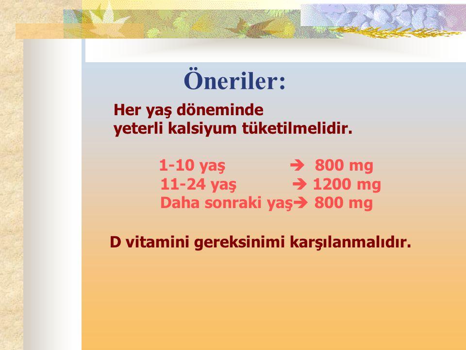 Öneriler: Her yaş döneminde yeterli kalsiyum tüketilmelidir. 1-10 yaş  800 mg 11-24 yaş  1200 mg Daha sonraki yaş  800 mg D vitamini gereksinimi ka