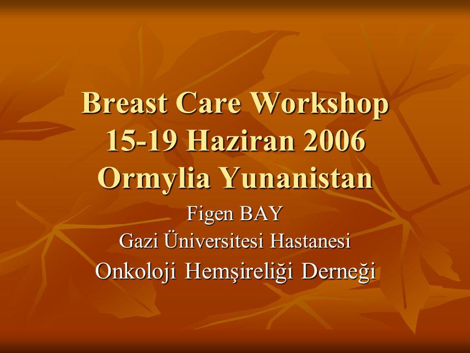 Breast Care Workshop 15-19 Haziran 2006 Ormylia Yunanistan Figen BAY Gazi Üniversitesi Hastanesi Onkoloji Hemşireliği Derneği