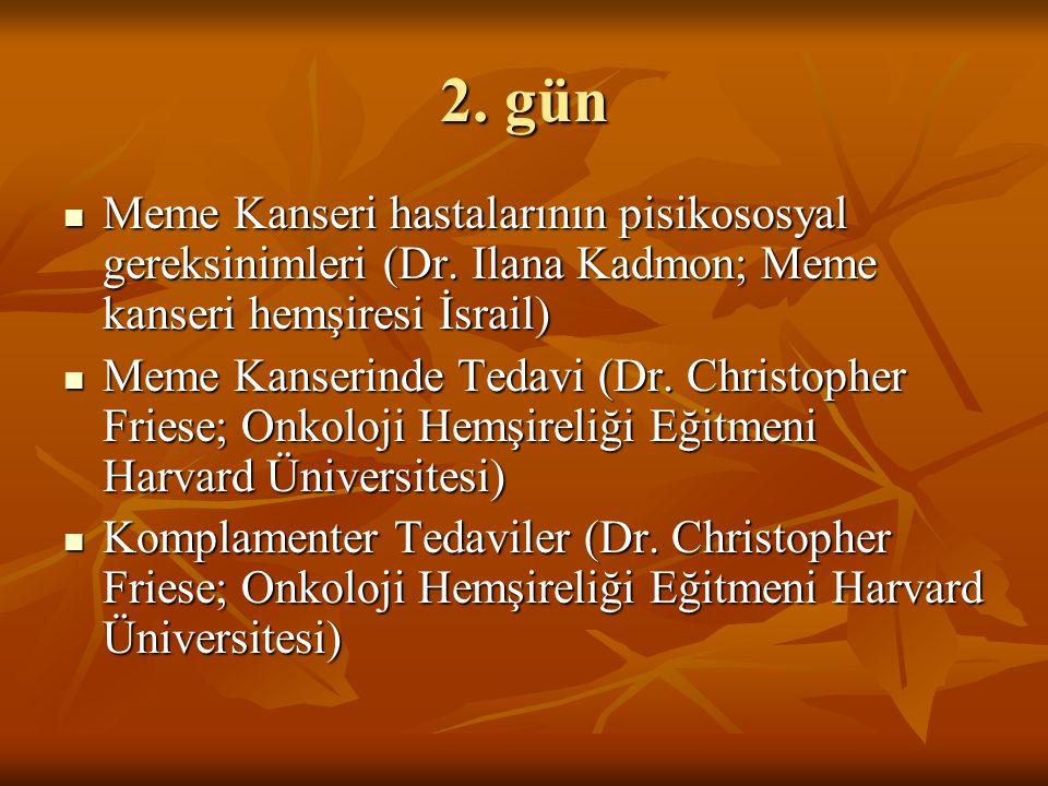 2. gün Meme Kanseri hastalarının pisikososyal gereksinimleri (Dr. Ilana Kadmon; Meme kanseri hemşiresi İsrail) Meme Kanseri hastalarının pisikososyal