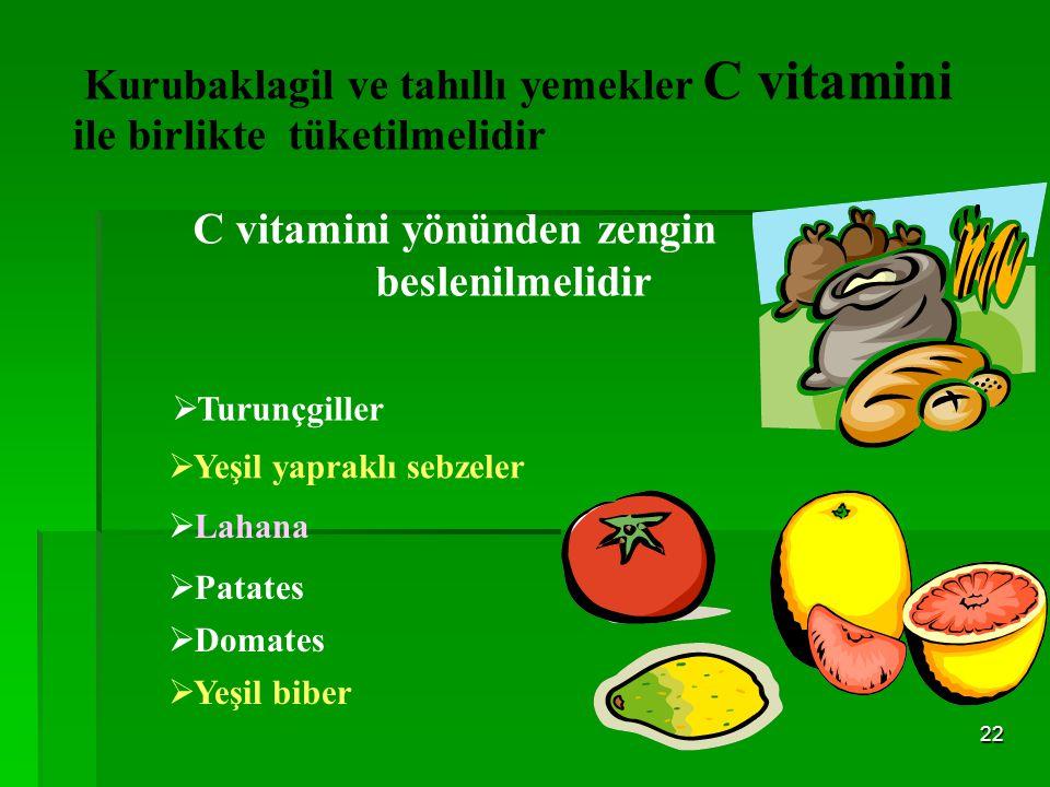 21 Kansızlığı önlemek için Demir Yönünden Zengin Kaynaklarla Beslenilmelidir Tavuk Karaciğer Balık Yumurta Kurubaklagiller, Pekmez,tahin Yeşil yaprakl