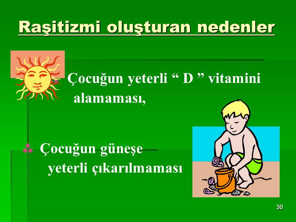 29 RAŞİTİZM D vitamini yetersizliği sonucu görülür Kemikleşme bozulur Alınan kalsiyumdan yeterince yararlanılmaz En çok bebek ve çocuklarda görülür