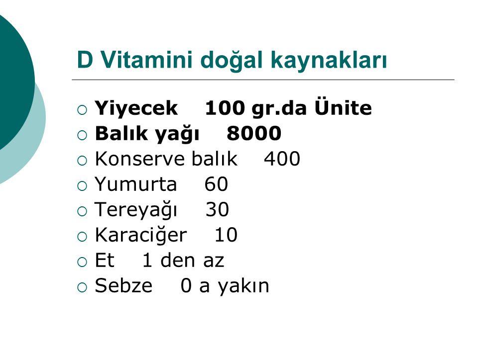 D Vitamini doğal kaynakları  Yiyecek 100 gr.da Ünite  Balık yağı 8000  Konserve balık 400  Yumurta 60  Tereyağı 30  Karaciğer 10  Et 1 den az 