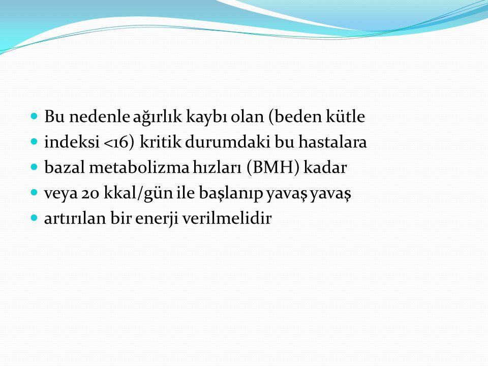 Bu nedenle ağırlık kaybı olan (beden kütle indeksi <16) kritik durumdaki bu hastalara bazal metabolizma hızları (BMH) kadar veya 20 kkal/gün ile başlanıp yavaş yavaş artırılan bir enerji verilmelidir