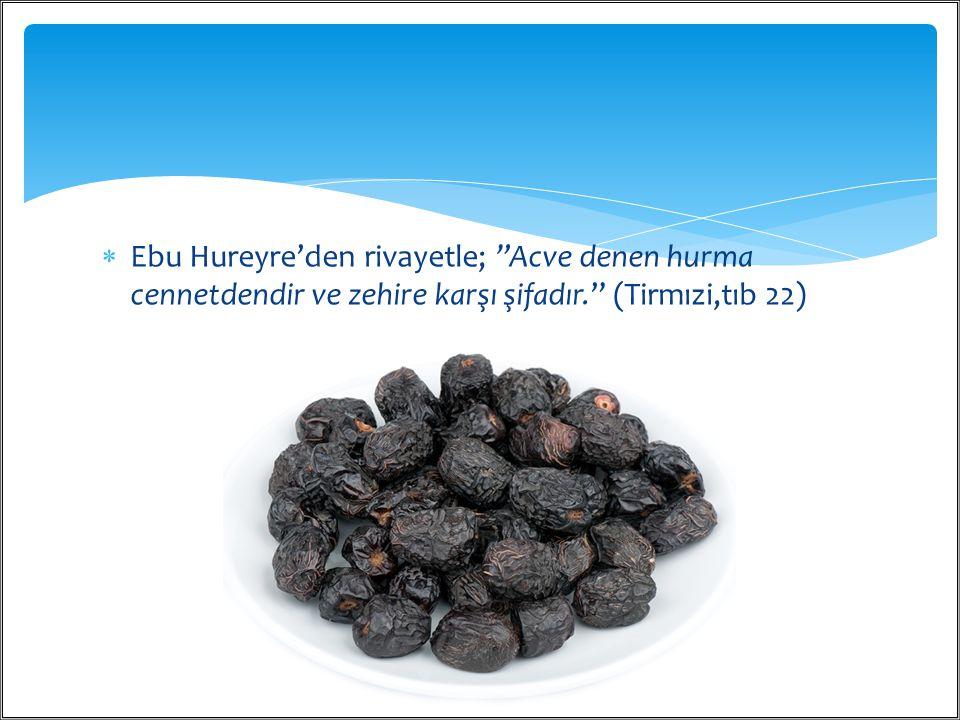 """ Ebu Hureyre'den rivayetle; """"Acve denen hurma cennetdendir ve zehire karşı şifadır."""" (Tirmızi,tıb 22) / 4011"""