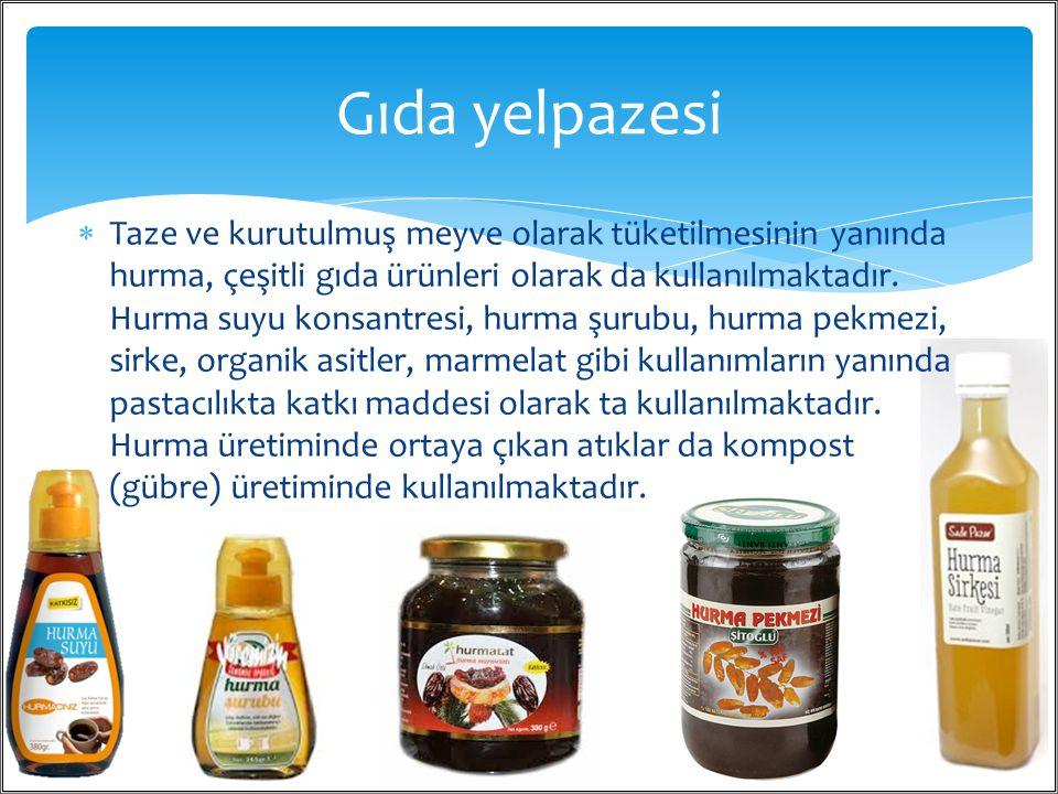  Taze ve kurutulmuş meyve olarak tüketilmesinin yanında hurma, çeşitli gıda ürünleri olarak da kullanılmaktadır. Hurma suyu konsantresi, hurma şurubu