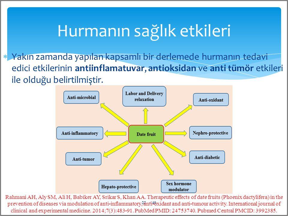  Yakın zamanda yapılan kapsamlı bir derlemede hurmanın tedavi edici etkilerinin antiinflamatuvar, antioksidan ve anti tümör etkileri ile olduğu belir