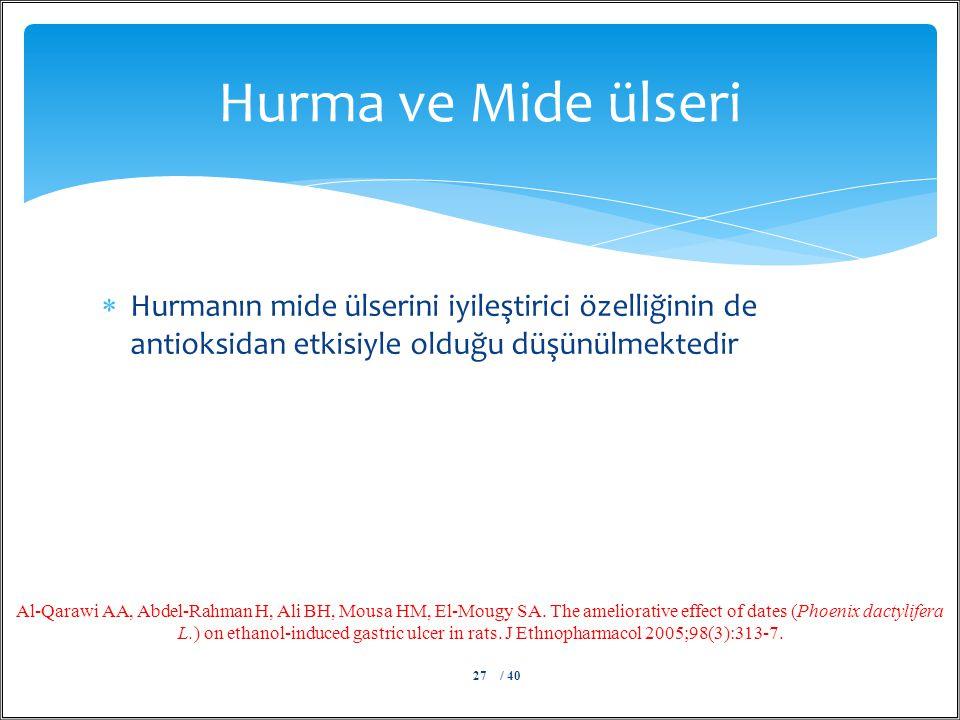  Hurmanın mide ülserini iyileştirici özelliğinin de antioksidan etkisiyle olduğu düşünülmektedir Hurma ve Mide ülseri / 4027 Al-Qarawi AA, Abdel-Rahm
