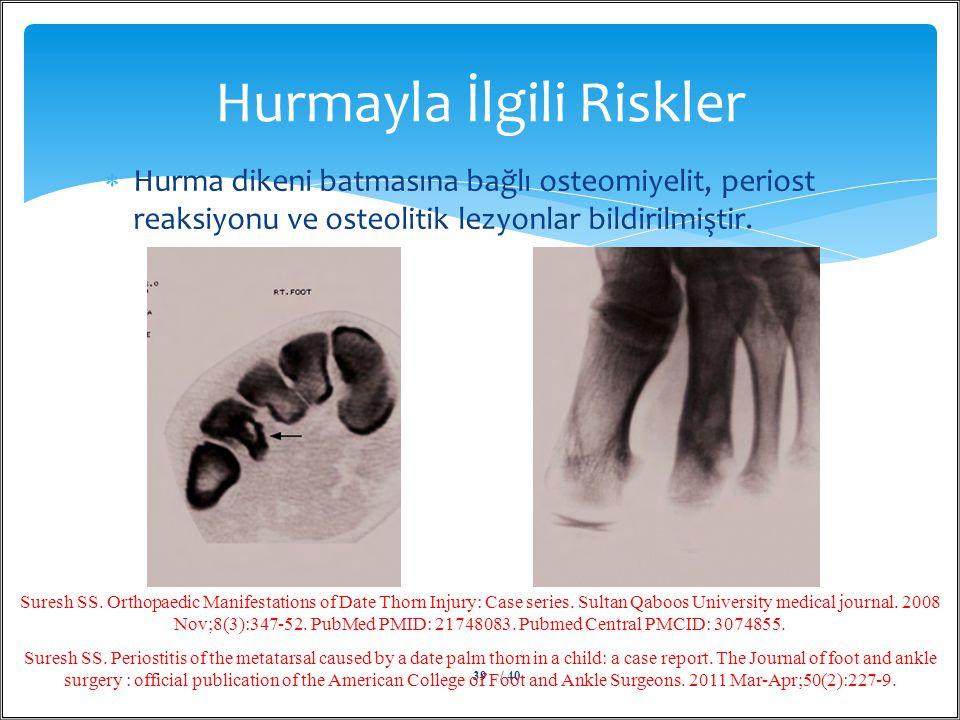  Hurma dikeni batmasına bağlı osteomiyelit, periost reaksiyonu ve osteolitik lezyonlar bildirilmiştir. Hurmayla İlgili Riskler / 4039 Suresh SS. Orth
