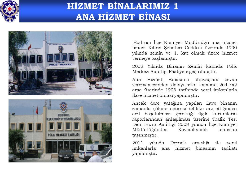 HİZMET BİNALARIMIZ 1 ANA HİZMET BİNASI Bodrum İlçe Emniyet Müdürlüğü ana hizmet binası Kıbrıs Şehitleri Caddesi üzerinde 1990 yılında zemin ve 1.