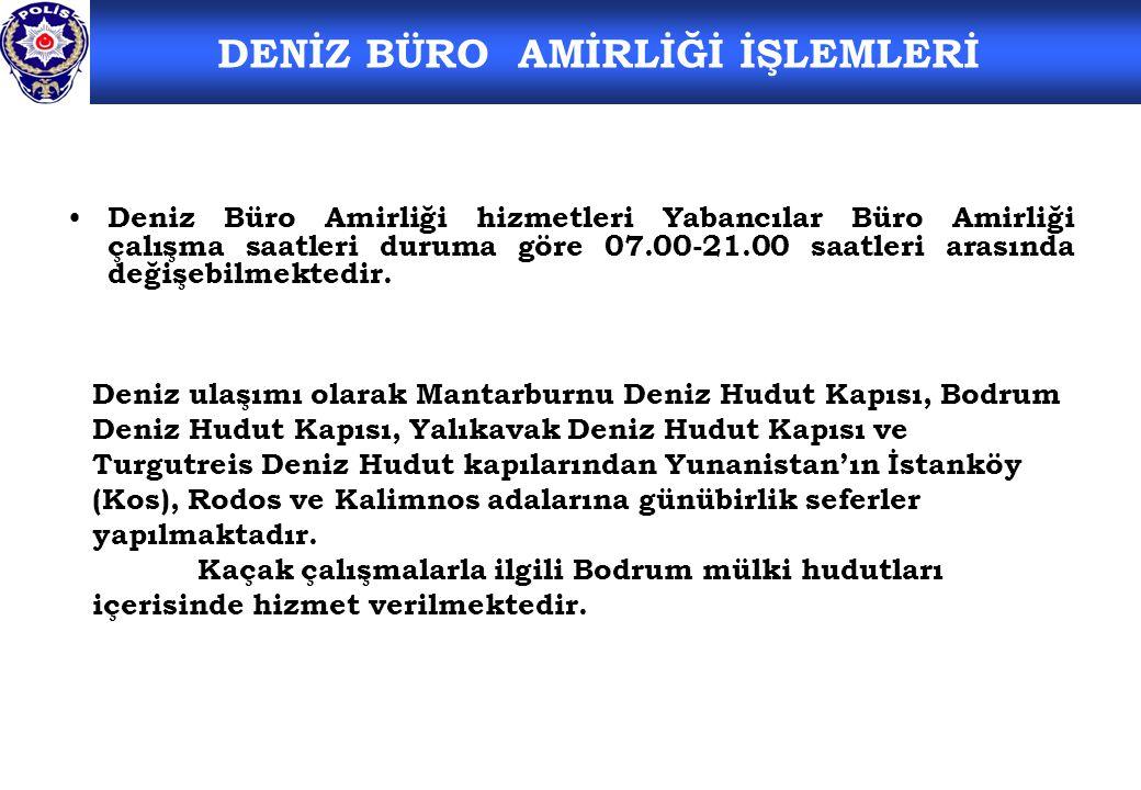 Deniz Büro Amirliği hizmetleri Yabancılar Büro Amirliği çalışma saatleri duruma göre 07.00-21.00 saatleri arasında değişebilmektedir.