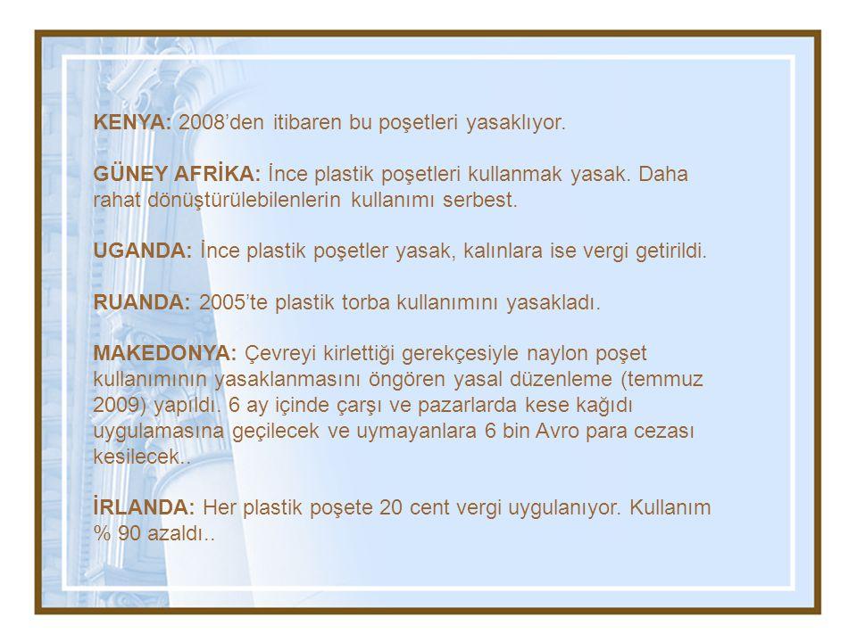 KENYA: 2008'den itibaren bu poşetleri yasaklıyor. GÜNEY AFRİKA: İnce plastik poşetleri kullanmak yasak. Daha rahat dönüştürülebilenlerin kullanımı ser