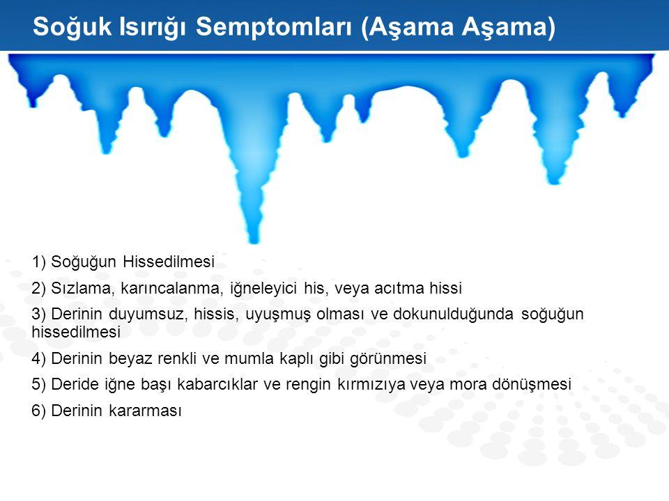 1) Soğuğun Hissedilmesi 2) Sızlama, karıncalanma, iğneleyici his, veya acıtma hissi 3) Derinin duyumsuz, hissis, uyuşmuş olması ve dokunulduğunda soğu