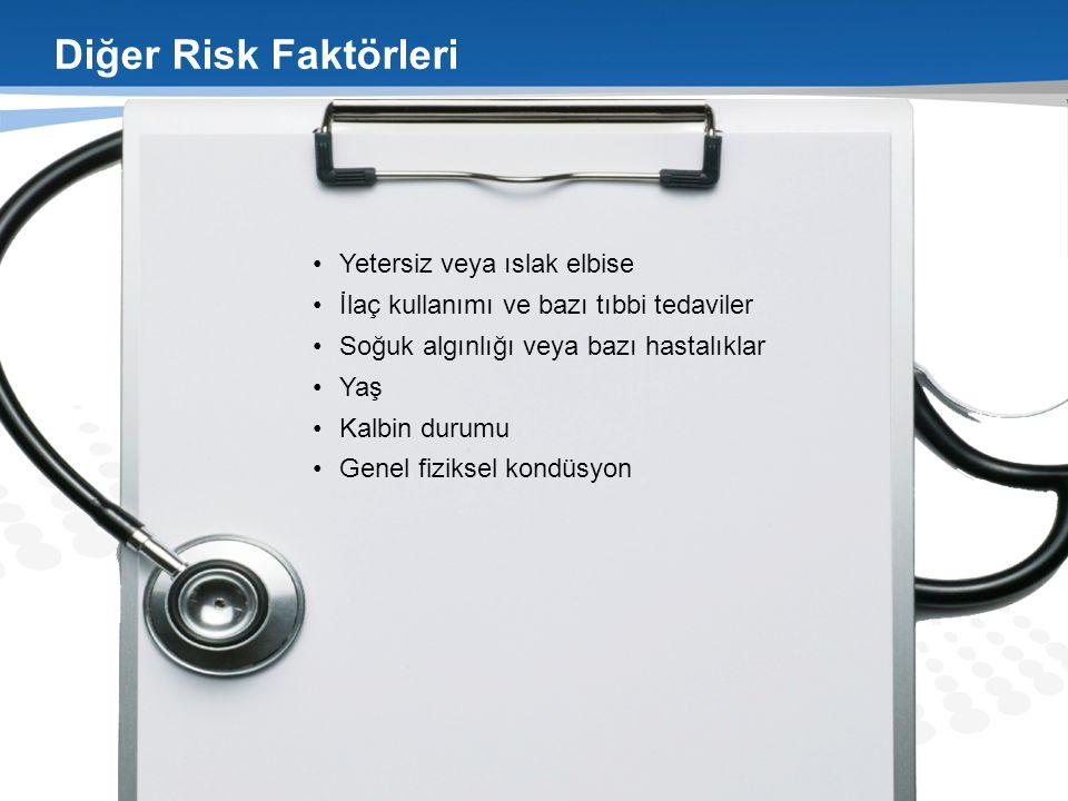 Diğer Risk Faktörleri Yetersiz veya ıslak elbise İlaç kullanımı ve bazı tıbbi tedaviler Soğuk algınlığı veya bazı hastalıklar Yaş Kalbin durumu Genel fiziksel kondüsyon