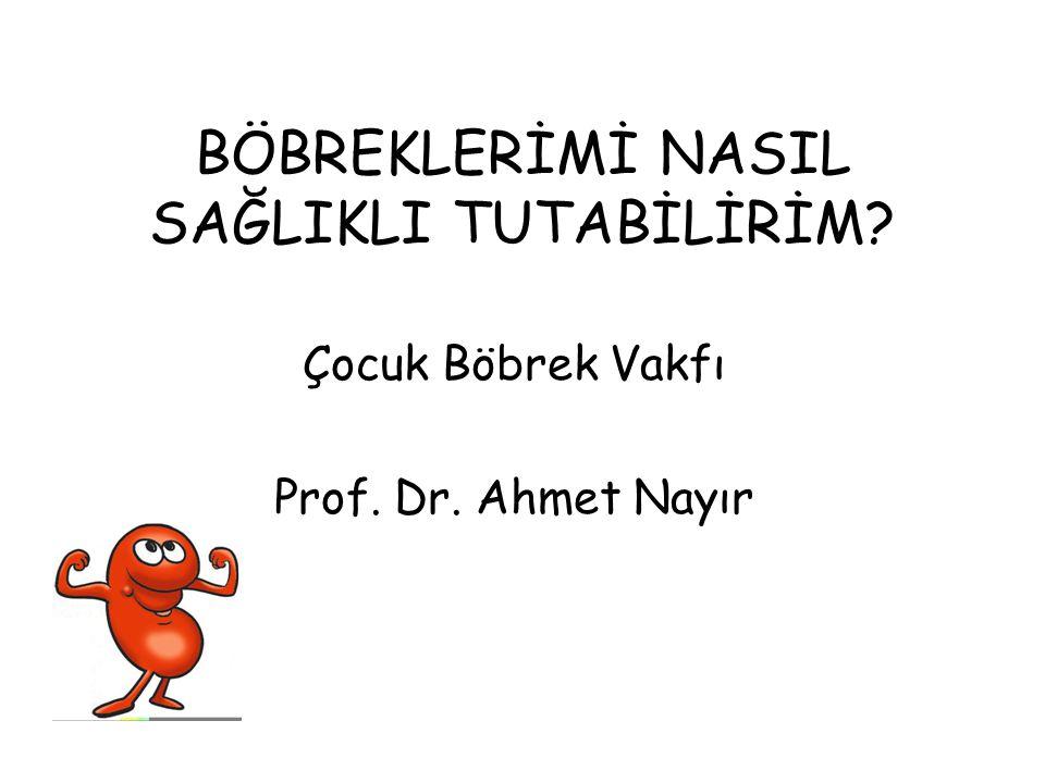 BÖBREKLERİMİ NASIL SAĞLIKLI TUTABİLİRİM? Çocuk Böbrek Vakfı Prof. Dr. Ahmet Nayır