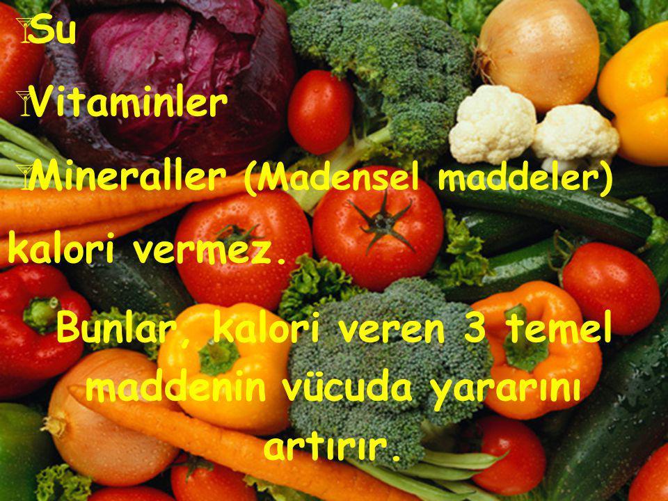Besinler neden farklı miktarlarda enerji sağlarlar? Besinler farklı miktarlarda karbonhidrat, protein ve yağ içerirler. Bu nedenle besin öğeleri, vücu
