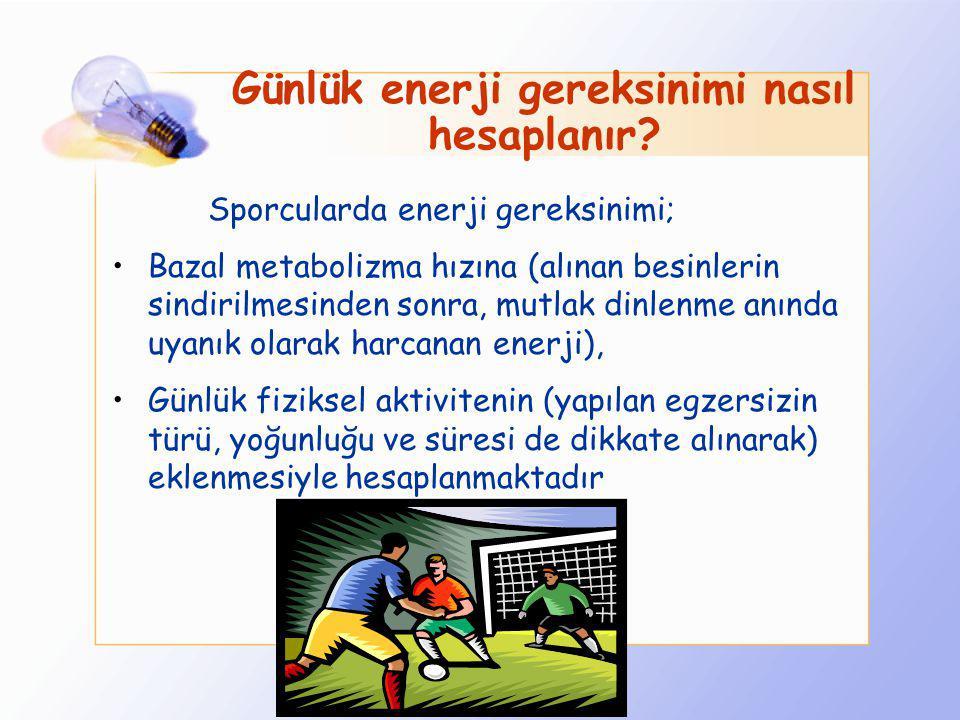 Futbolcularda Besin Öğeleri Gereksinimi Ne kadardır? Bir futbolcunun yeterli ve dengeli beslenebilmesi için günlük enerjinin % 60-70 i CHO lardan % 10