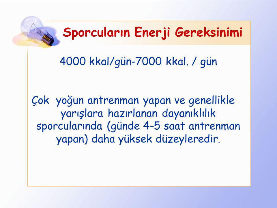 Günlük enerji gereksinimi nasıl hesaplanır? Sporcularda enerji gereksinimi; Bazal metabolizma hızına (alınan besinlerin sindirilmesinden sonra, mutlak