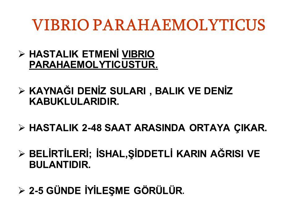 VIBRIO PARAHAEMOLYTICUS  HASTALIK ETMENİ VIBRIO PARAHAEMOLYTICUSTUR.