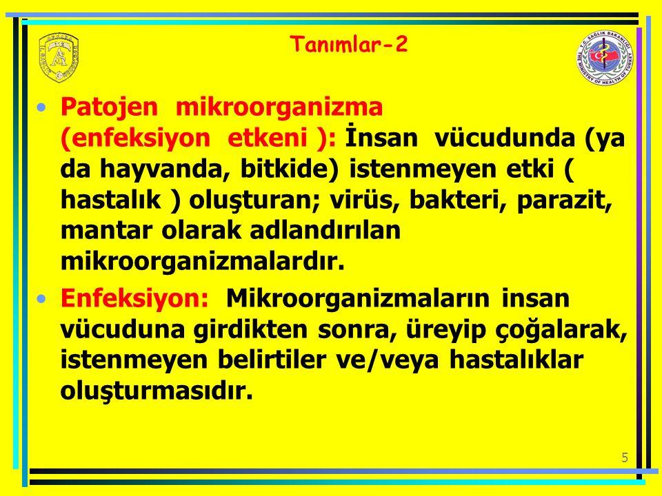 5 Tanımlar-2 Patojen mikroorganizma (enfeksiyon etkeni ): İnsan vücudunda (ya da hayvanda, bitkide) istenmeyen etki ( hastalık ) oluşturan; virüs, bak