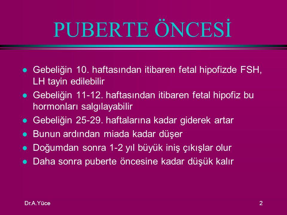 Dr.A.Yüce1 AMENORE l İki tür amenore vardır 1- PRİMER AMENORE : l 16 yaşında hala menstrüel kanamaların başlamamış olması 2- SEKONDER AMENORE: l Normal menstrüasyon gören bir kadında 6 ay süreyle menstrüel kanamanın olmaması hali
