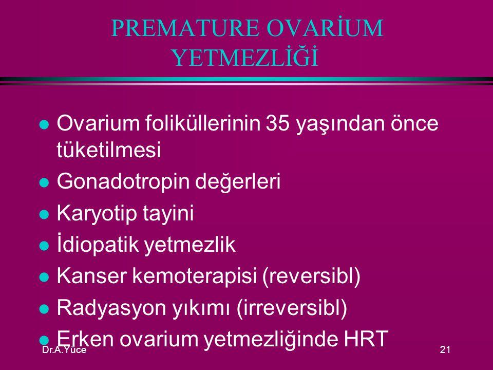 Dr.A.Yüce20 ENDOMETRİUM YETMEZLİĞİ ASHERMAN SENDROMU l NEDENLERİ: n Post partum veya enfekte bir düşükte yapılan derin küretaj n Sık arayla yapılmış bir kaç D&C n Myomektomi, cesarean section ve tüberküloz endometritis l TANI : n Östrojen progesteron testi: –25 gün 2,5 mg konjuge östrojen, son 10 gün 10 mg MPA n HSG, Histeroskopi l TEDAVİ: n Optimal tedavi sineşilerin histeroskopik lizisidir n Müdahele sonrası rahim içine bir RIA yerleştirilir n 2-3 ay süreyle yüksek doz östrojen (5mg/gün KÖ) ve 10 mg MPA n Tedavi sonrası RIA çekilir ve HSG tekrarlanır n Bu tedaviyle hastaların 2/3' si tedavi edilebilmektedir