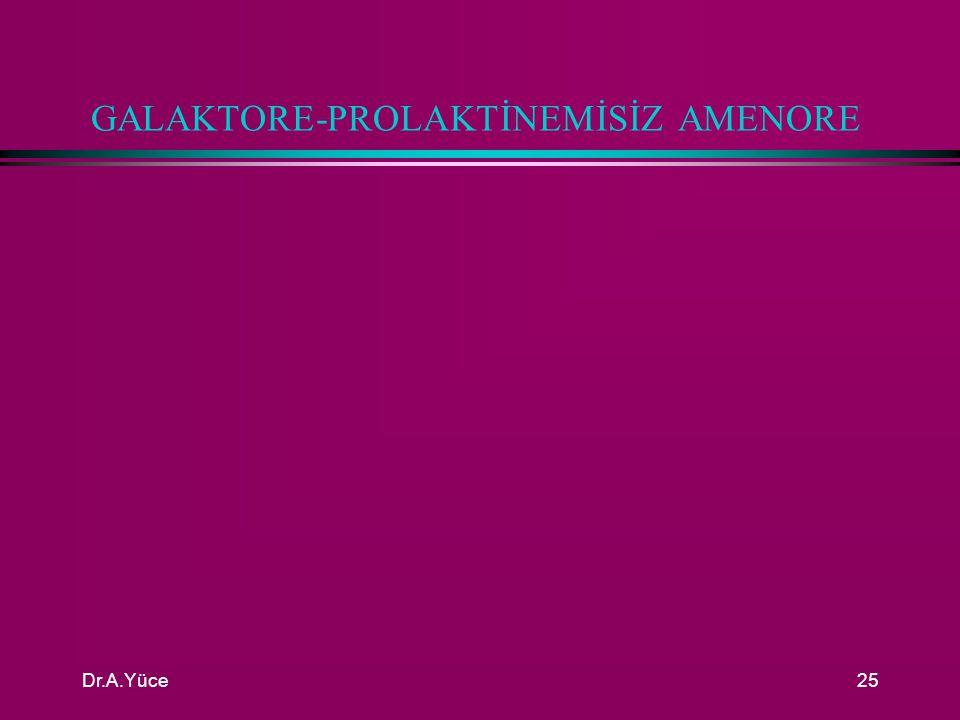Dr.A.Yüce24 GALAKTORE-HİPERPROLAKTİNEMİSİZ AMENORENİN TEŞHİSİ l İlk adım progesteron testtir( MPA 10 mg/5 gün) l Kanama var ise overden östrojen üretimi vardır.