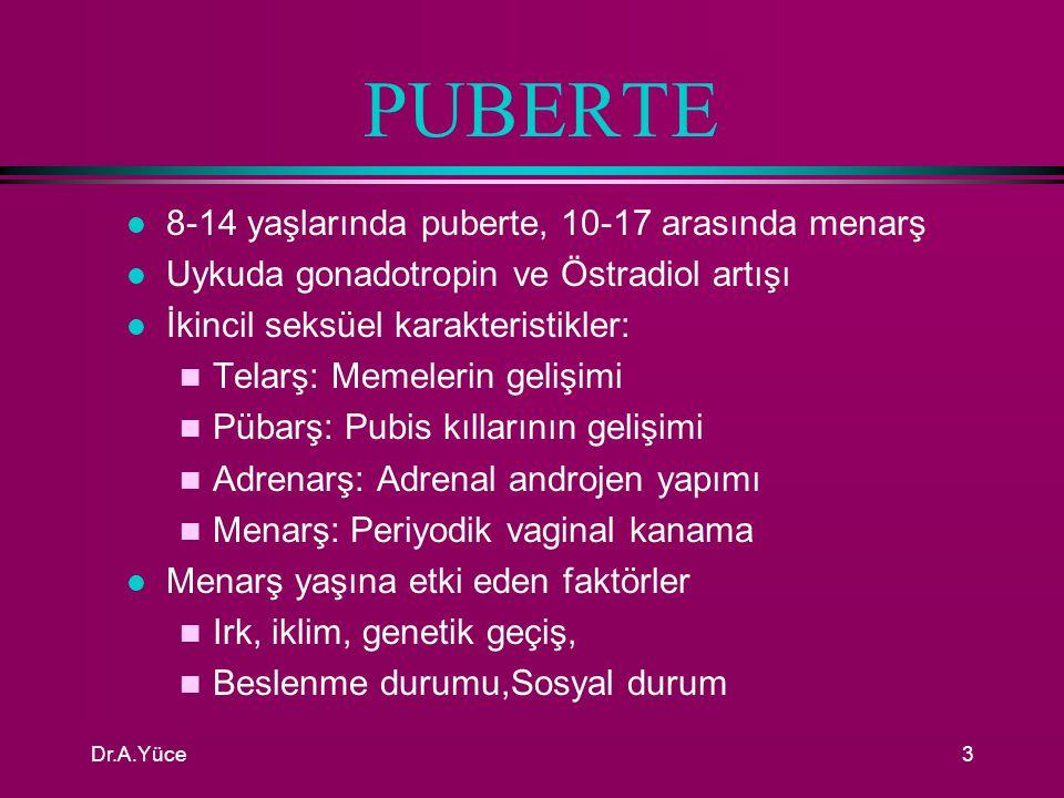 Dr.A.Yüce2 PUBERTE ÖNCESİ l Gebeliğin 10.