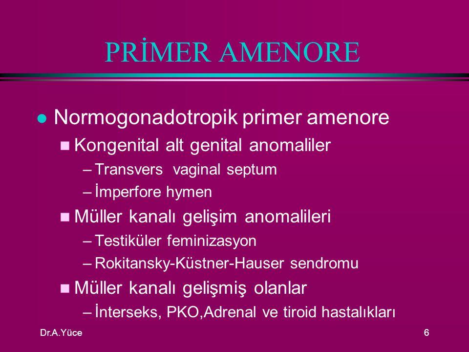 Dr.A.Yüce5 AMENORENİN ÖNEMİ l Amenoreli kadınlar ovulasyonsuzdur l E 2 yoksa genital atrofi ve osteoporoz l E 2 varsa endometrial hiperplazi ve karsinom l Sekonder seksüel karekterlerin gelişmemesiyle sosyal ve psikoseksüel problemlere yol açabilir l Amenorenin en sık nedeni gebeliktir