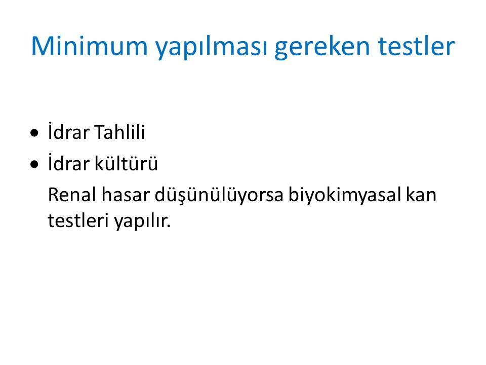 Minimum yapılması gereken testler  İdrar Tahlili  İdrar kültürü Renal hasar düşünülüyorsa biyokimyasal kan testleri yapılır.
