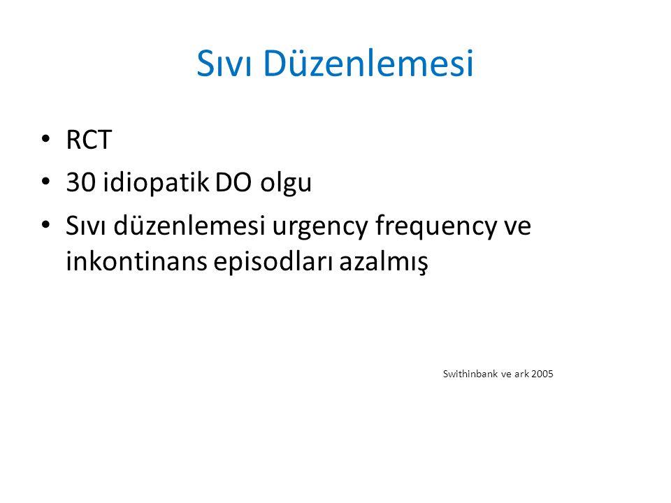 Sıvı Düzenlemesi RCT 30 idiopatik DO olgu Sıvı düzenlemesi urgency frequency ve inkontinans episodları azalmış Swithinbank ve ark 2005