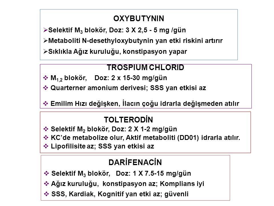 OXYBUTYNIN  Selektif M 3 blokör, Doz: 3 X 2,5 - 5 mg /gün  Metaboliti N-desethyloxybutynin yan etki riskini artırır  Sıklıkla Ağız kuruluğu, konstipasyon yapar TROSPIUM CHLORID  M 1,2 blokör, Doz: 2 x 15-30 mg/gün  Quarterner amonium derivesi; SSS yan etkisi az  Emilim Hızı değişken, İlacın çoğu idrarla değişmeden atılır TOLTERODİN  Selektif M 2 blokör, Doz: 2 X 1-2 mg/gün  KC'de metabolize olur, Aktif metaboliti (DD01) idrarla atılır.