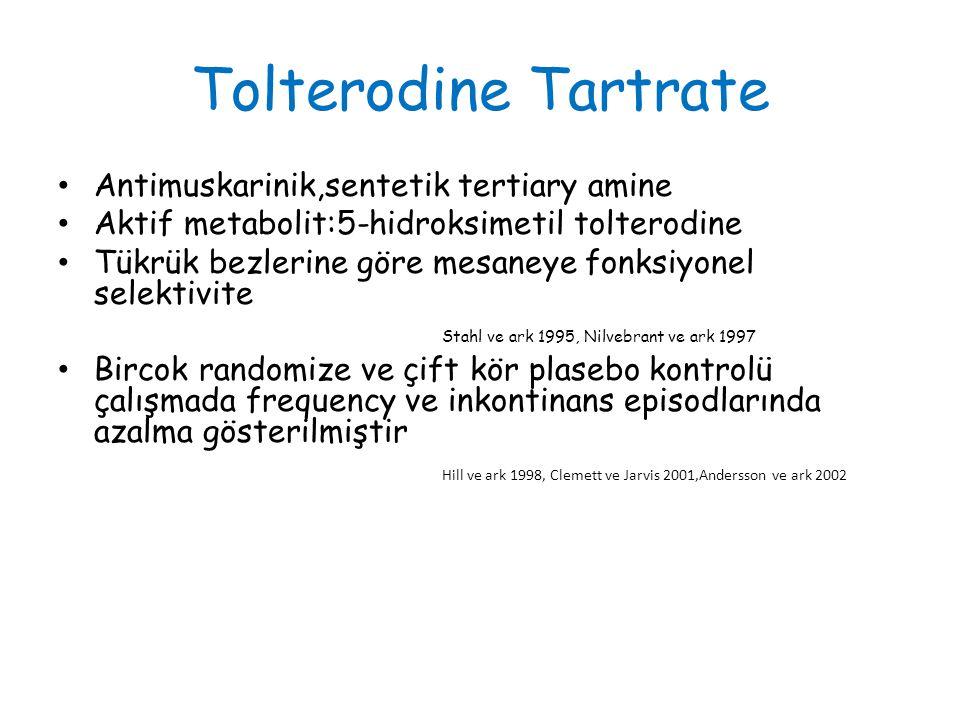 Tolterodine Tartrate Antimuskarinik,sentetik tertiary amine Aktif metabolit:5-hidroksimetil tolterodine Tükrük bezlerine göre mesaneye fonksiyonel selektivite Stahl ve ark 1995, Nilvebrant ve ark 1997 Bircok randomize ve çift kör plasebo kontrolü çalışmada frequency ve inkontinans episodlarında azalma gösterilmiştir Hill ve ark 1998, Clemett ve Jarvis 2001,Andersson ve ark 2002
