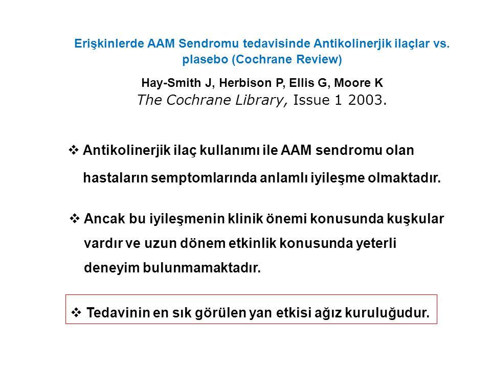 Antimuskarinik ilaçların problemleri  AAM kronik hastalıktır ve uzun dönem tedavi gerektirmektedir.