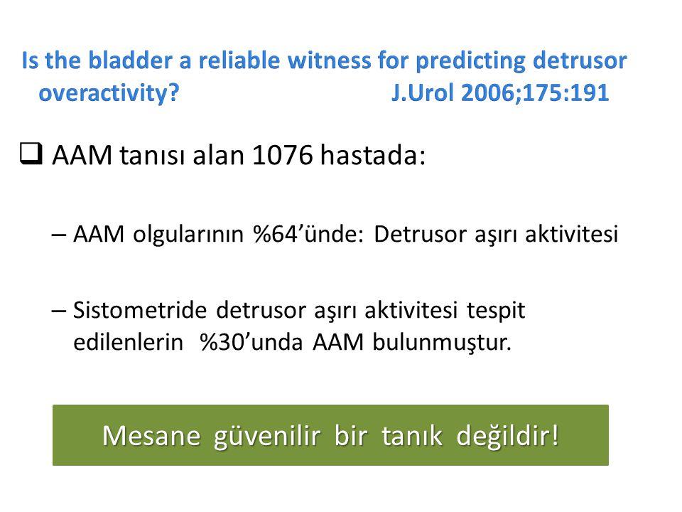  AAM tanısı alan 1076 hastada: – AAM olgularının %64'ünde: Detrusor aşırı aktivitesi – Sistometride detrusor aşırı aktivitesi tespit edilenlerin %30'unda AAM bulunmuştur.