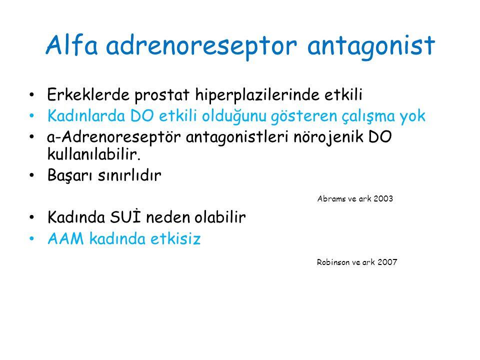Alfa adrenoreseptor antagonist Erkeklerde prostat hiperplazilerinde etkili Kadınlarda DO etkili olduğunu gösteren çalışma yok a-Adrenoreseptör antagonistleri nörojenik DO kullanılabilir.