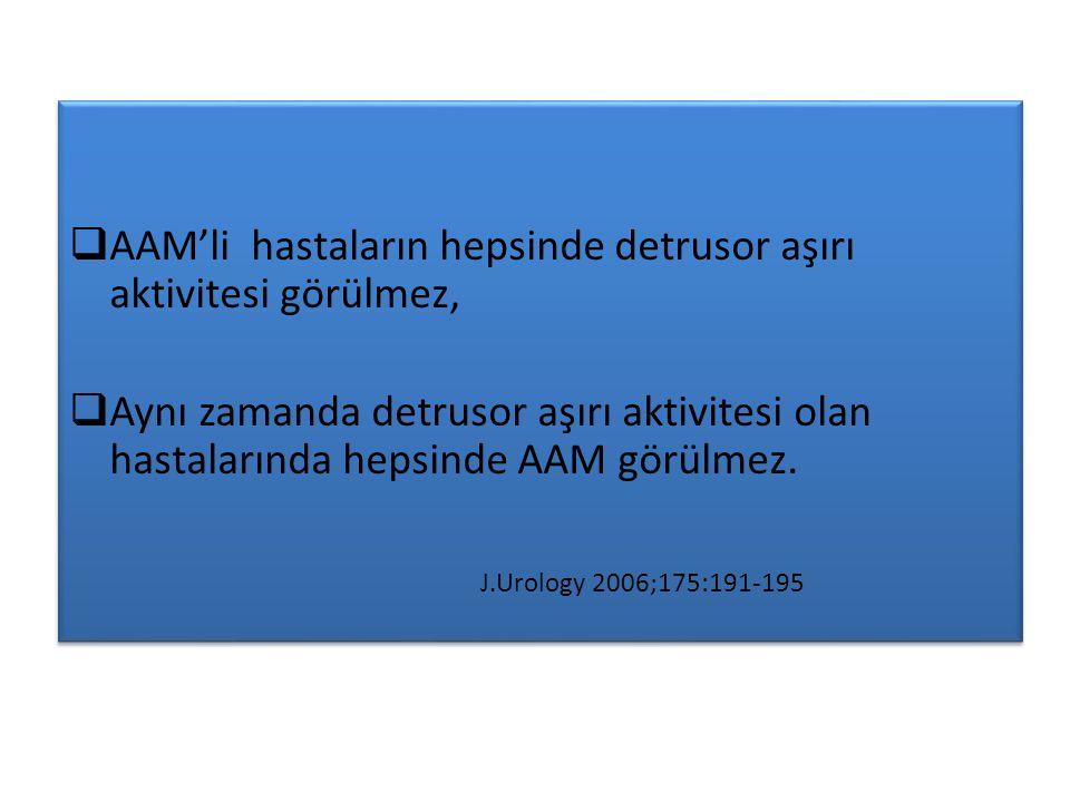  AAM'li hastaların hepsinde detrusor aşırı aktivitesi görülmez,  Aynı zamanda detrusor aşırı aktivitesi olan hastalarında hepsinde AAM görülmez.