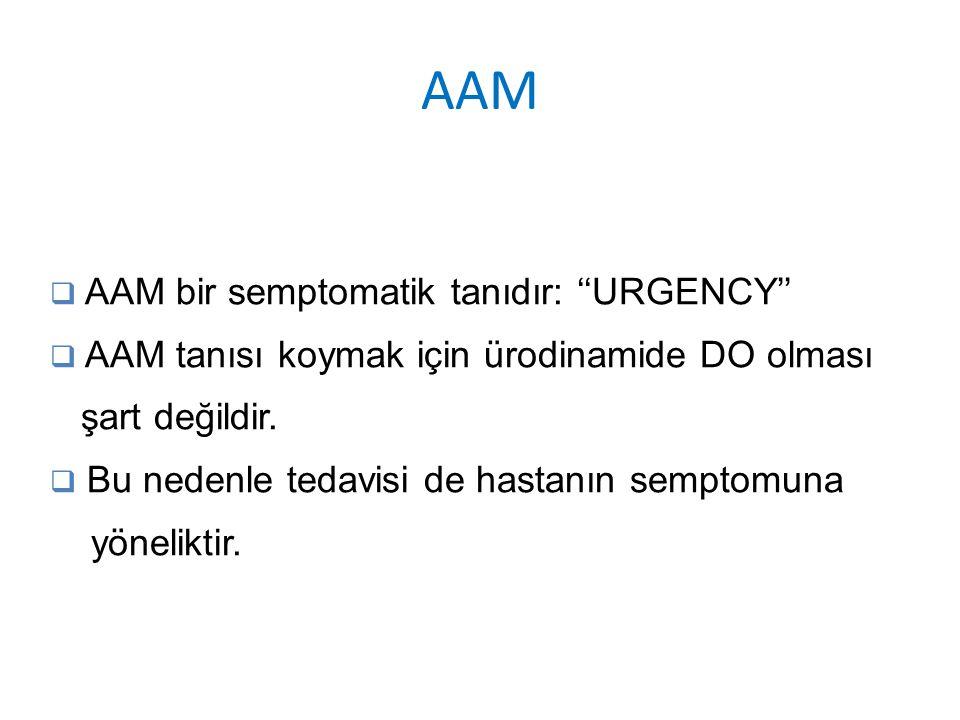 AAM  AAM bir semptomatik tanıdır: ''URGENCY''  AAM tanısı koymak için ürodinamide DO olması şart değildir.