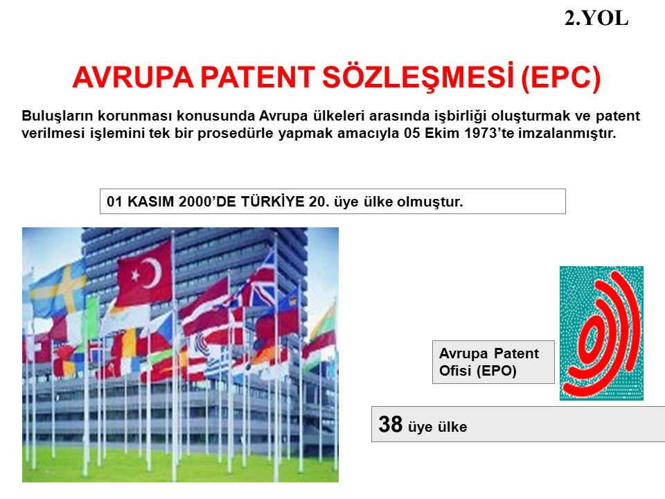 AVRUPA PATENT SÖZLEŞMESİ (EPC) Buluşların korunması konusunda Avrupa ülkeleri arasında işbirliği oluşturmak ve patent verilmesi işlemini tek bir prose