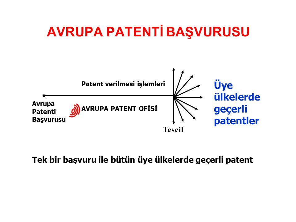 AVRUPA PATENTİ BAŞVURUSU Üye ülkelerde geçerli patentler Avrupa Patenti Başvurusu Patent verilmesi işlemleri AVRUPA PATENT OFİSİ Tek bir başvuru ile b